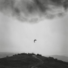Rapture. (brianoldham) Tags: sky blackandwhite cloud storm man abduction rapture brianoldham