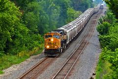 BNSF 9892 leads a WB grain while EB Amtrak can be seen on the right. (sgillam30) Tags: railroad rail trains amtrak rails bnsf railroads emd railfanning railfans trainmeet transcon klinejeffcitysubtranscon