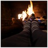 A place to warm up (Free 2 Be) Tags: socks cat fire fireplace flickr stripes warmth flame heat 2013 113picturesin2013 113in2013