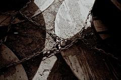 Constrained (nag #) Tags: street winter bw texture film beach japan japanese blackwhite seaside sand nikon kodak drum snapshot january snap surface structure chain negative material filmcamera nikkor nega reel negativefilm filmwork negafilm