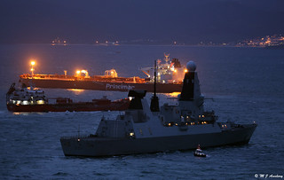 Royal Navy's Type 45 Guided Missile Destroyer HMS Diamond (D34) performs a Sovereignty Patrol/Anchorage in BGTW