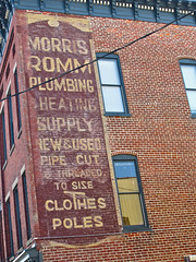 Morris Romm Plumbing, Richmond, VA (Robby Virus) Tags: bear new brick sign wall virginia cut ghost ad plumbing pipe richmond advertisement used clothes size poles morris heating meyer supply threaded romm lefkowitz sginage