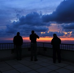 Three at sunset (rightthewrong) Tags: park new chris sunset white mountains building weather standing john observation washington mt adams state watching may peak jim fair nh hampshire presidential mount deck observatory cumulus summit vista volunteer range viewing sherman obs 2014 mwo presidentials nhsp