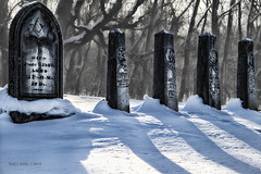 Sun Painted Shadows (jackalope22) Tags: sun snow cemetery dead shadows stones angles iowa rochester plots
