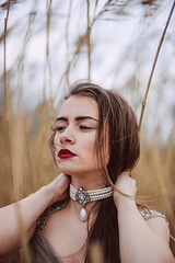 *M* (jovana.vukotic) Tags: red portrait woman yellow outside gold necklace nikon pretty outdoor lips sensual pearl brunette 20s