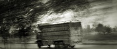 and this happened (Fortunes2011. Haunting Nostalgia) Tags: road blackandwhite bw motion blur monochrome truck mono action lorry shake vibration 2351 fortunes2011nikon