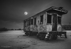 Desert train... (Linda Goodhue) Tags: california sky blackandwhite bw moon abandoned monochrome contrast train nightscape nightshot desert moonlight abandonedtrain nikond800 lindagoodhuephotography