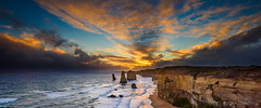 12 Apostles Sunset ([v] style + imagery) Tags: sunset victoria cliffs greatoceanroad 12apostles portcampbell princetown oceanscape cloudsstormssunsetssunrises