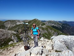 Edita on the summit of Pizzo Deta (2041m), with Monte del Passeggio behind (markhorrell) Tags: walking lazio apennines montiernici