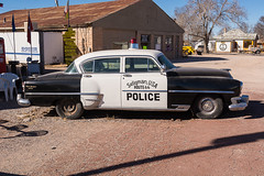 Vintage Seligman Police Car (nikons4me) Tags: arizona signs vintage route66 deluxe police az newyorker chrysler seligman nikonafsdx18200mmf3556gifedvr nikond7100