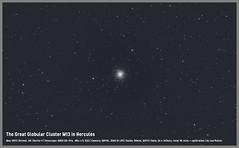 "The Great Globular Cluster M13 in Hercules (Lee ""Pulitzer"" Pullen) Tags: bristol stars astrophotography astronomy ccd hercules astrophoto lightpollution eq3 m13 globularcluster deepsky skywatcher 80ed 80mmrefractor smalltelescope messier13 cityastrophotography eq3pro qhy8l cityastronomy skywatchereq3pro skywatcherevostar80eddspro eq3prosynscan"