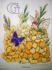 Gladiolus Fairy (Lynne M. B.) Tags: flowers art drawing fairy coloring coloredpencils gladiolus coloringbook flowerandfairyalphabet