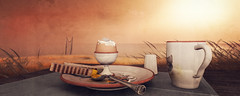 The Gates of Melancholy (Lalie Sorbet SL) Tags: breakfast sunrise scenery warm egg sl secondlife virtual paysage sim leverdesoleil oeuf virtualit virtuality chaleur petitdjeuner virtuallife metaverse virtualworld scne virtuel secen thegatesofmelancholie