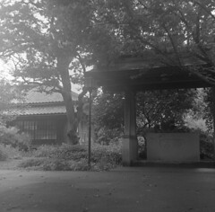 House on a temple ground (odeleapple) Tags: bw house mamiya film temple 65mm c330 mamiyasekor neopan100acros