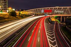 Stripes Of Lights (Alias_Axel_Ryder) Tags: bridge light red orange 6 green yellow canon mnchen eos licht stuttgart d stripes 8 autobahn axel ryder brcke karlsruhe bosch lichter streifen parkhaus leinfelden filderstadt
