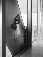 Girl taking photo (nk_jan) Tags: frankfurtmain germany bronicarf645 zenzanonrf45 fomapan400 hc110 blackandwhite schwarzweis schwarzweiss blackwhite mediumformat girl taking photo commerzbank scysrcaper mirror reflection kunstprivat
