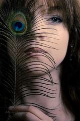 Hiding (Mikko Vuorinen) Tags: blue portrait woman girl beauty face look mystery photoshop eyes nikon photographer secret flash feather sigma cc hide mysterious finnish hiding lightroom nissin 1770mm strobism f2840 d5100 meviart