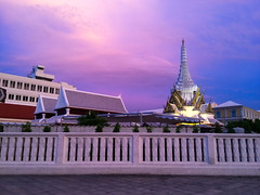 Temple at beautiful sunset (Evgeny Ermakov) Tags: city travel blue sunset vacation sky nature colors beautiful beauty clouds landscape asian thailand religious temple gold golden asia southeastasia view purple bangkok buddha buddhist religion dream culture buddhism landmark scene holy exotic destination southeast wat th touristic krungthepmahanakhon buddhistic
