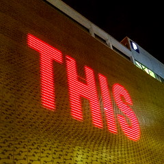 This (Bruce Poole) Tags: red art rose manchester rouge typography this neon text illumination leds lettering iphone 2015 brucepoole redthis