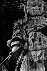 Komokuten Statue At Todaiji Temple (KellarW) Tags: komokuten todaiji todaijitemple statue woodenstatue wood wooden blackandwhite blackwhite bw stark starkstatue pen thepenismighterthanthesword thepen thesword might strength knowledge legend japan nara canon100mmf28l canon5diii 5diii 5dmarkiii 5dmkiii