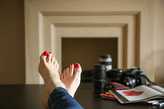 177/366: Cold feet (judi may) Tags: camera feet home table fireplace dof bokeh magazines lenses cameragear project52 canon7d day177366 366the2016edition 3662016 25jun16