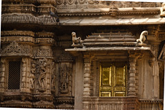 Golden door and carvings.jpg (melissaenderle) Tags: religion asia gujarat ahmedabad jain northindia india church mosque synagogue