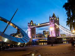 St. Katharine's Way (d@neumi) Tags: bridge sky london tower colors thames night towerbridge lumix lights abend colours dusk sightseeing himmel places panasonic dmmerung brcke lichter themse g7