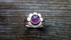 Hand engraved silver ring with copper flower and Amethyst (Scott Sterbenz) Tags: handmade jewelry ring copper amethyst sterlingsilver silverring sanfranciscoartist nopowertools handengraved copyright2016scottsterbenz