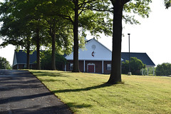 Morning at St. Andrew (MTSOfan) Tags: church shadows lawn standrew crossandflame