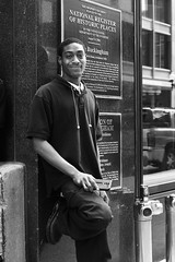 Street Portrait - Downtown Chicago - 18 June 2016 - 7D II - 116 (Andre's Street Photography) Tags: street city urban blackandwhite chicago man black blancoynegro canon eos downtown noiretblanc loop zwartwit young streetphotography streetportrait teenager africanamerican leaning bwphotography straat straatfotografie straatportret 7dii ef40mmf28stm chicago18june20167dii