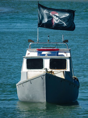 Prepare For Boarders! (Steve Taylor (Photography)) Tags: blue red newzealand white black boat flag nelson pirate nz southisland skullandcrossbones