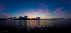 Midsummer's Night (Jani Mkel) Tags: pink light sunset panorama lake nature water night clouds sunrise canon finland lens landscape eos dawn countryside midsummer view dusk wideangle calm midnight boating moment finnish lightroom pijnne canonphotography 700d