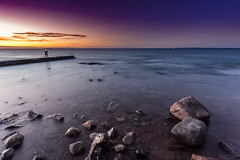 Waiting For The Morning (Curtski22) Tags: ocean longexposure nightphotography sea sky seascape beach nature water silhouette norway landscape seaside sand rocks outdoor no le shore nightsky nightphoto tnsberg vestfold