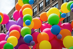 Balloon Town (Andy Marfia) Tags: windows chicago abstract building balloons iso100 pride parade uptown f56 broadwayave 1800sec d7100 1685mm