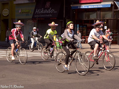 NYC Five Borough Bike Tour (Sunday May 5, 2013) (nrhodesphotos(the_eye_of_the_moment)) Tags: nyc costumes windows woman signs men glass sport metal fun shoes shadows faces gates manhattan hats sneakers bicycles sidewalk biking brakes pedals storefronts mustache spectators awnings bikers springtime cincodemayo helmets avenueoftheamericas leotards fiveboroughbiketour peddling storessigns hobbyists nrhodesphotosyahoocom wwwflickrcomphotostheeyeofthemoment dsc8293nhr spoestires httpuknewsyahoocomyourpictures