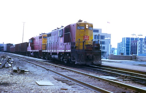Rock Island #1282 with #1276 trailing at Joliet Union Station in April 1974.