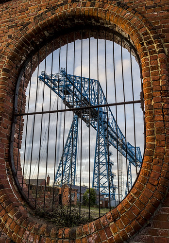 Transporter Bridge through Vulcan Street wall
