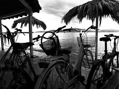 During a break (Geo.M) Tags: city sea white black beach bike greek george seaside afternoon ride greece noon poli giorgos ellas ellada thessaly  elliniko  thessalia agria  podilato          miliokas