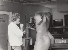 Sculptor and sculpture B&W 1986 (promaine) Tags: ny newyork metal studio nude us artist torso sculptor greenwichvillage blowtorch newyorkuniversity gluts
