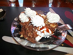 Chocolate Peanut Butter Pie. (dccradio) Tags: food ny newyork pie dessert lunch restaurant cafe chocolate plate fork upstateny whippedcream eat sweets eats peanutbutter malone northernnewyork nancysvillagecafe