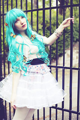 Pluie de Monarque (andreannelupien) Tags: girl forest butterfly insect doll teal makeup insects skirt greeneyes curly monarch redlips curlyhair monarchs tealhair