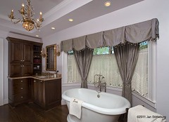 bathtub-corner vanity (SimoneFeldmanDesigns,LLC.) Tags: lighting wood glass stone tile bathroom shower doors floor mosaic vanity mirrors tub granite cabinets hardwood soaking