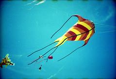 [ ☄ ] ([noone]) Tags: kite valencia 35mm lomo lca xpro crossprocessed procesocruzado playa cometa aquilone processoinverso