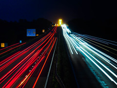 365.216 - M6 Light Trails (Tim Stubbs) Tags: longexposure night motorway rugby olympus lighttrails 365 m6 newton