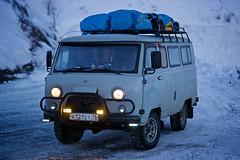 UAZ russian van, Verkhoyansk mountains, Yakutia, Siberia, Russia (Alex_Saurel) Tags: winter sunset cold car automobile russia outdoor photojournalism transportation r
