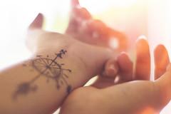 compass (Jasmine LY.) Tags: light orange white ink hands fingers lightleak highkey