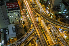 Above the Semba-Nishi JCT v.3 (Sandro Bisaro) Tags: road street city urban cars japan night
