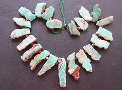 20 Chrysoprase 1 (CGPGemBeads) Tags: brown green rock stone beads natural slice stick rough pendant slab mintgreen freeform chrysoprase topdrilled stickpoint