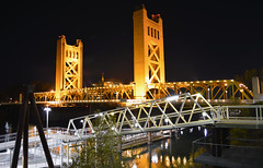 Sacramento_Bridge (S E Brendel) Tags: california old trees houses sunset black night reflections river ronald big downtown rustic bridges foliage drawbridge sacramento elegant leafs oldtown centralvalley oldfashioned mansions oldwest capitolcity chevroletsuburban reaganshouse
