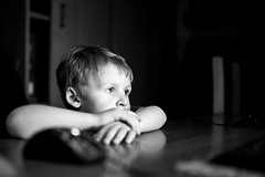 watching (I.Dostál) Tags: boy white black blackwhite tv kid child watch it blackandwhiteonly compotuter